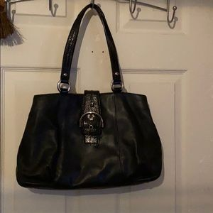 Coach Black Leather Soho Buckle Carryall Tote Bag